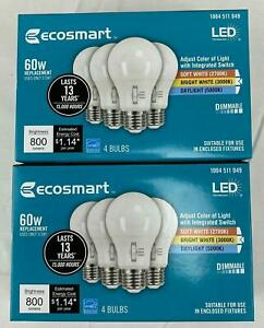 8 Pack EcoSmart 60-Watt Equivalent A19 Dimmable LED Light Bulb, Selectable CCT