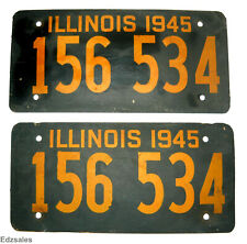 Vintage 1945 License Plate Set - Illinois Fiberboard Vehicle Plates Pair