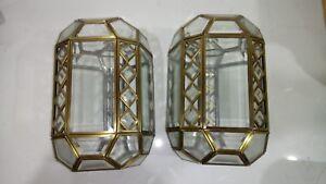 VINTAGE RETRO DECO LOOK LANTERN LIGHT PENDANT SHADE ANTIQUE BRASS CHROME GLASS