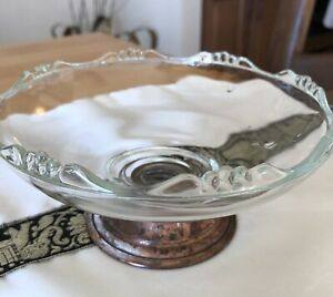 Princess House Clear Depression Glass Candy Dish With Copper Pedestal