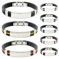 Men's Women's Stainless Steel Rubber Wristband Bangle Clasp Cuff Bracelet