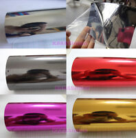 "Fashion 12"" x 60"" Car Flat Glossy Mirror Chrome Vinyl Wrap Sticker Sheet Film HD"
