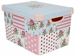 Curver 212966 22 Litre Large Plastic Stockholm Deco Patchwork Storage Box Pink