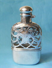 Antique Pocket Flask with Beaker STERLING SILVER Overlay Alvin US-PIATTO UOMO