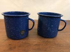 Vintage Blue Speckled Enamel Camping Cups Mugs Set of 2 (C7)