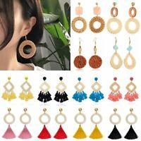 Boho Ethnic Flower Teardorp Round Earrings Drop Dangle Ear Stud Women Jewelry