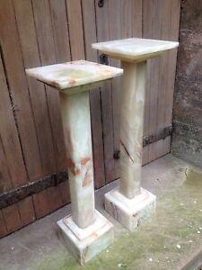 pair art deco alabaster column torchere jardiniere marble church flower stand