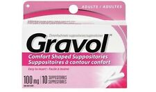 GRAVOL Comfort Shaped Suppositories 100mg ADULTS (10 suppositories)