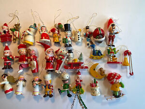 """Lot of 28 Vintage Wooden Christmas Ornaments Santa Snowman Soldiers Size 2""""-3"""""""