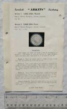 Vintage leaflet: Swedish Arkits Basketry - cake dish 1 & 2