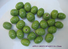 50grams of OVAL APPLE GREEN OPAQUE GLASS BEADS 14 x 12mm