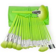 MSQ Professional 24PCs Makeup Brush Set Powder Cosmetic Synthetic Wood Bag Green