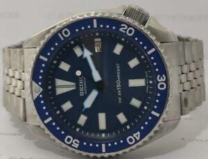 VINTAGE SEIKO DIVER 7002-700J AUTOMATIC MEN'S WATCH BLUE FACE MODDED 1D1550
