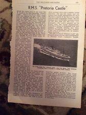 M9-6 Ephemera 1951 1 Page Article R M S Pretoria Castle