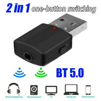 2 in 1 Wireless Bluetooth5.0 Audio Receiver Transmitter 3.5mm RCA for TV PC