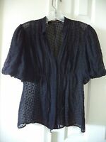 BCBG MaxAzria Black Updated Silk Short Sleeve Swiss Dot Polka Dot Blouse 0 2 XS