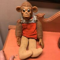"Vintage 15"" Rubber Face Monkey Plush Toy Doll Stuffed Animal 1950's Unusual old"