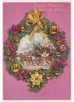 Tarjeta Postal Vintage Corona Decoración Bolas Árbol Por Navidad Años 70 80 Tren