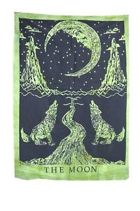 Indian The Moon Wolf Green & Black Poster Wall Hanging Cotton Home Decor