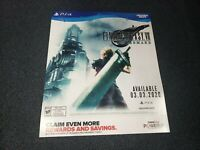 Final Fantasy VII 7 Remake Promotional Display Poster 28x24 PlayStation PS4 PS5