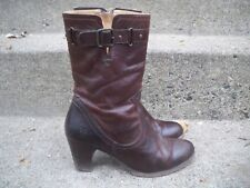 Frye #77407 Mid-Calf Zip Stacked Riding Chocolate Leather Women's Boots Size 7.5