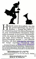 Phonograph Edison 1907 German ad Thomas Alva Gramophone advertising ad +