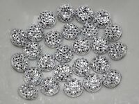 "200 Silver Resin Round Flatback Dotted Rhinestone Gem 8mm(0.31"") No Hole"