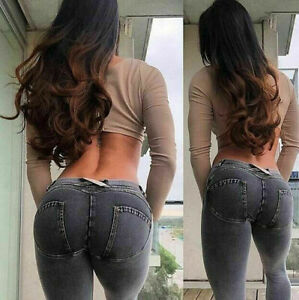 Pants Elastic Tight Sexy Hip Freddy Demin Push Up Jeans Women Trousers Pencil UK