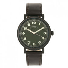 Elevon Felix Black Leather Band Green Dial Men's Watch ELE109-6