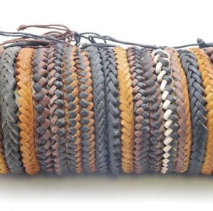 Leather plaited wrist bands bracelets Mens Woman's Unisex friendship Fair Trade