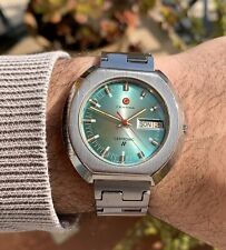 Certina Certronic Day Date Steel Men's Vintage RARE Watch With Bracelet Green