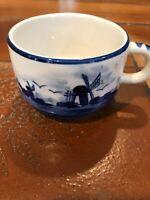 "Vintage Hand Painted Delfts Blue Cup, 3 1/4"" Diameter, 2 1/8"" High"