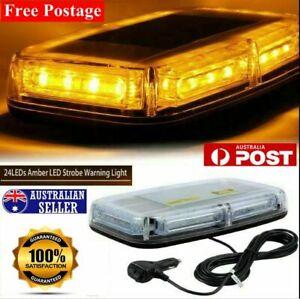 24 LED Beacon Flashing Magnetic Emergency Warning Strobe Amber Light 12/24V AUS