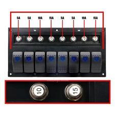 8 Gang Car Marine Boat Splashproof Blue LED Toggle Switch Panel Circuit Breaker