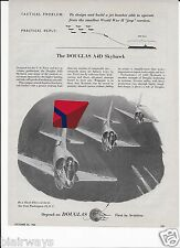 """DOUGLAS AIRCRAFT A4D SKYHAWK OPERATES FROM WW-2 """"JEEP"""" CARRIERS 1955 AD"""