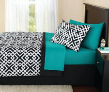 Turquoise Green Blue Black White Geometric 6 Piece Comforter Bedding Set Twin SZ