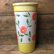 Tall Yellow and Pink Flower Stoneware Vase