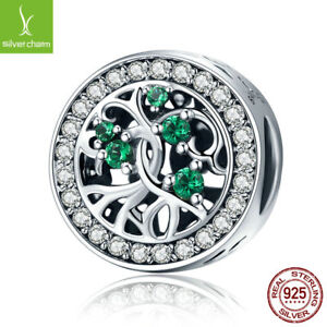 European Silver Tree Of Life Bead Green CZ Charm fit 925 sterling Original chain