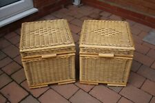PAIR VINTAGE BAMBOO RATTAN WOVEN WHICKER TIKI OTTOMANS CHEST TRUNK SIDE TABLES
