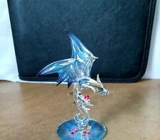 Glass Baron Dragon Jewel Keeper Blue & Red Crystals Swarovski Disney Figurine 4""