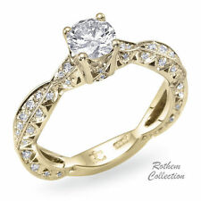 Round Not Enhanced Yellow Gold I1 Diamond Engagement Rings