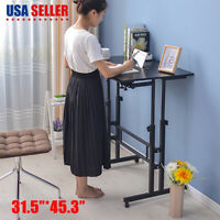 Adjustable Height Stand Up Desk Computer Workstation Lift Rising Laptop w/ Wheel