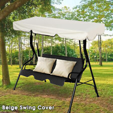 2-3 Person Beige Waterproof Patio Swing Canopy Top Awning Outdoor Sunshade  ❤