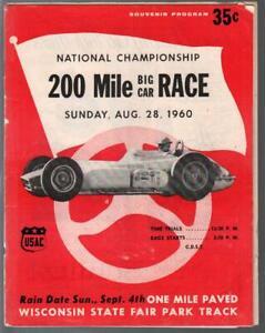 Wisconsin State Fair Park Track USAC Big Car Race Program 8/28/1960-Indy car-VG