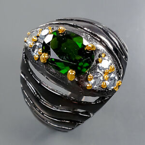 Handmade Unique Chrome Diopside Ring Silver 925 Sterling  Size 7 /R177733