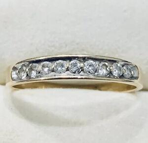 0.25 Ct 14k Yellow Gold Diamond Ring Band Size 9