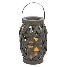 Decorative 9.5� Basketweave Lantern Flameless w/Led Pillar Candle Gray Nwt