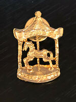 Vintage Collectible Carousel Horse Colorful Metal Pin Back Lapel Pin Hat Pin