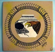 "Native American Navajo Handmade 12""x12"" Sand Painting The Bald Eagle Pottery New"