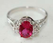 Oval cut Ruby Red & 925 Sterling Silver Ring w/ White Gold finished, #449 Size7
